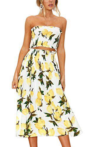 Angashion Women's Floral Crop Top Maxi Skirt Set 2 Piece Outfit Dress Lemon S