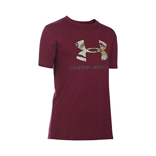 Under Armour Boys' Camo Fill Big Logo Short Sleeve T-Shirt, Maroon/Maverick Brown, Youth X-Small