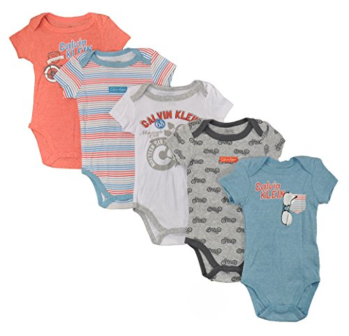 Calvin Klein Baby Boys' Assorted Short Sleeve Bodysuit, Coral/Blue/Motorcyle, 6-9 Months (Pack of 5)
