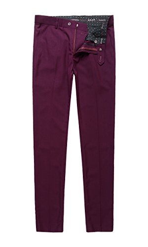 Benibos Men's Stretch Modern-Fit Flat-Front Dress Pant (XL, 305K-Burgundy)