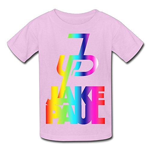 Christina W. Halle Youth Kids Spring Fashion T-Shirt Short Sleeve Jake Paul Logo Customization Pink S