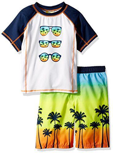 Baby Buns Little Boys' Two Piece Tropic Paradise Rashguard Swimsuit Set, Multi, 5