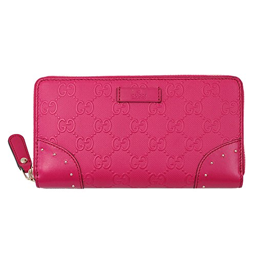 Gucci Diamante Pink Leather Long Wallet Zip Around