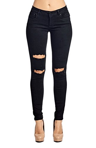2LUV Women's Stretchy Butt Lift 5 Pocket Ripped Skinny Jeans Black 9