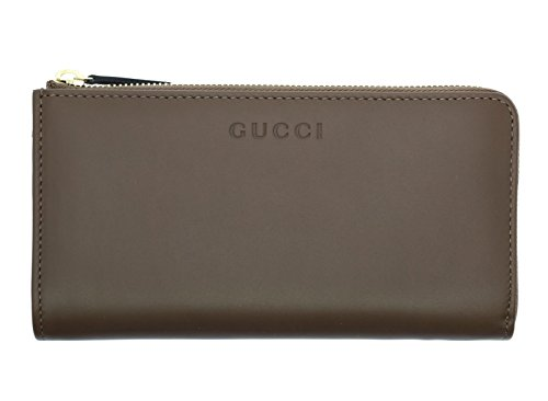 Gucci Women's Margaux Calf Leather Quarter Zip Wallet Brown