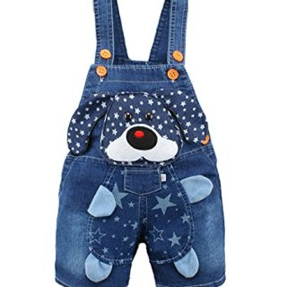 Kidscool Baby Summer Cotton Denim 3D Cartoon Star Dog Soft Short Overalls