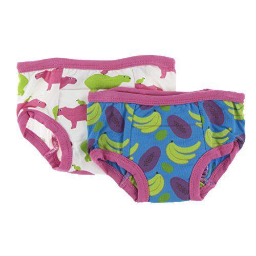 Kickee Pants Bamboo Boy/Girl Training Pants - 2 Pack (3T/4T, Natural Capybara & Tropical Fruit)
