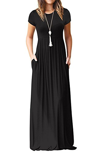 AUSELILY Women's Short Sleeve Round Neck Maxi Casual Long Dresses Black X-Large