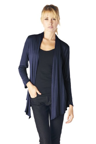 Women'S Rayon Span Super Comfortable Basic Cardigan - Navy XL