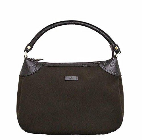 Gucci Brown Canvas Hobo Shoulder Bag Guccissima Leather Handbag