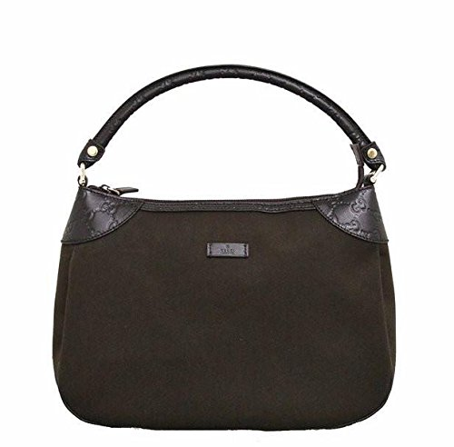 Gucci Brown Canvas Hobo Shoulder Bag Guccissima Leather Handbag