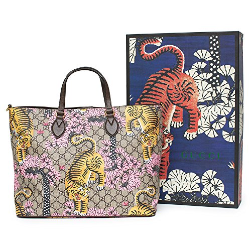 Gucci Bengal Tote Pink Shoulder Mixed Tiger Fabric leather Handbag Purse Bag New