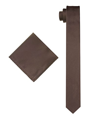 Men's Solid Slim Necktie with Matching Pocket Hanky - Chocolate Brown