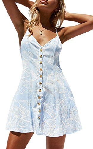 Angashion Womens Dresses-Floral V Neck Adjustable Strappy Button Down A Line Mini Pocket Dress, Light Blue, Large