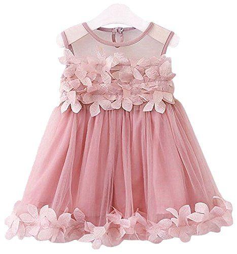 2Bunnies Girls 3D Flower Flowy Fluttery Dress Wedding Party Princess Vintage Lace Dresses (4T, Dusty Pink)