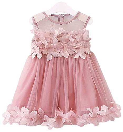 2Bunnies Girls 3D Flower Flowy Fluttery Dress Wedding Party Princess Vintage Lace Dresses (4T, Dusty Pink)