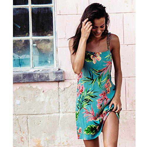 Billabong Women's Night Twist Swing Mini Dress Jungle Medium