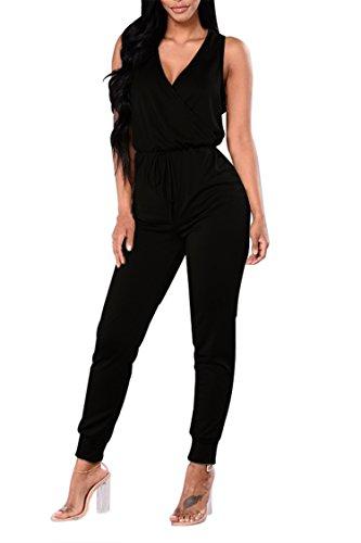 Fixmatti Women Plain Sleeveless V Long Pant Summer Jumpsuit Dress Black XL