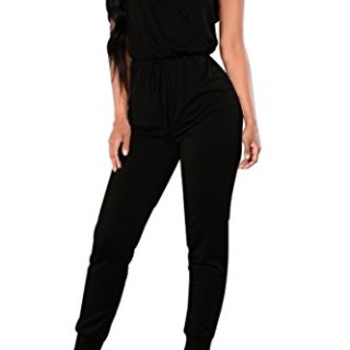 Fixmatti Women Plain Sleeveless V Long Pant Summer Jumpsuit Dress Black XL