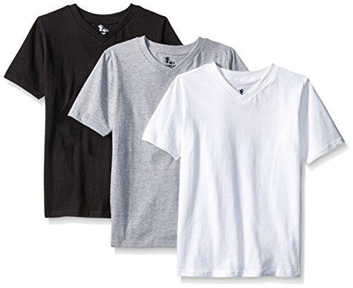 American Hawk Big Boys 3 Piece Pack V-Neck T-Shirt, White/Black/Heather Grey, 10/12