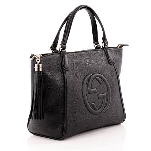 Gucci Soho Leather Top Handle Bag Zip Gold Leather Shoulder Italy Handbag New