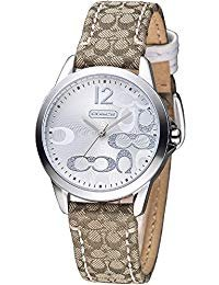 Coach Womens Classic Signature Strap Silver Dial Watch