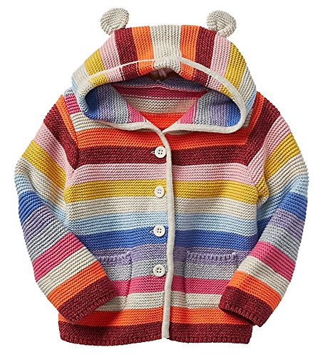 BabyGap Baby Gap Factory Girls Crazy Stripe Bear Hoodie Cardigan Sweater 3-6 Months