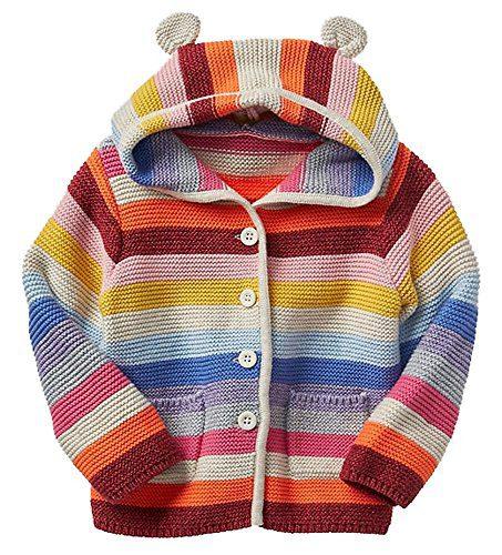 BabyGap Baby Gap Factory Girls Crazy Stripe Bear Hoodie Cardigan Sweater 3-6 Months