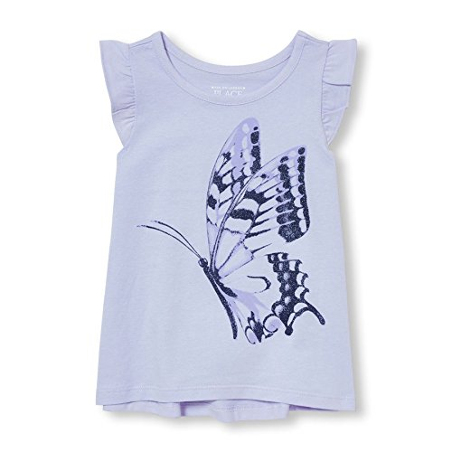 The Children's Place Baby Toddler Girls' Ruffle Sleeve Top, Spring Sky, 3T
