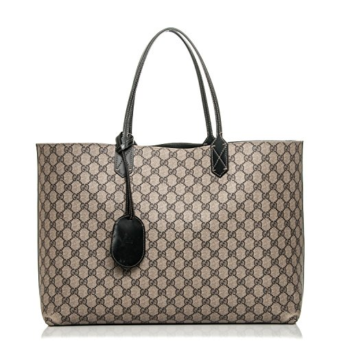 Gucci Signature Tote Reversible Black Leather Bag Leather Italy Handbag New