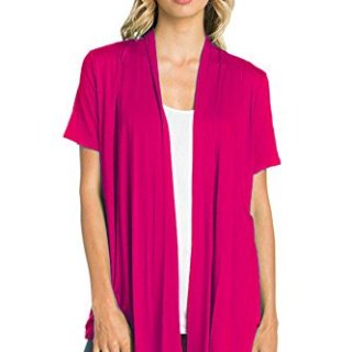12 Ami Basic Solid Short Sleeve Open Front Cardigan Fuchsia Pink Extra Large
