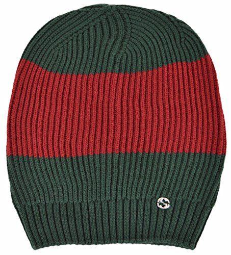 Gucci Men's Wool Green Red Interlocking GG Slouchy Beanie Ski Hat