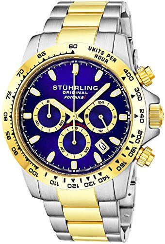 """Stuhrling Original Mens Sport Chronograph Watch - Stainless Steel Brushed Matte Bracelet, 891 Formula """"i"""" Watches Collection (Two Tone Gold)"""