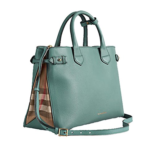 Tote Bag Handbag Authentic Burberry Medium Banner in Leather and House Check Smokeygreen Item