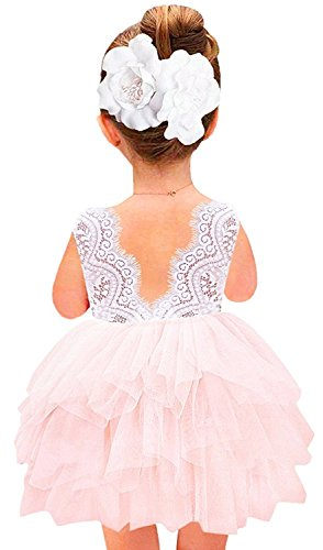 2Bunnies Girl Baby Girl Beaded Backless Lace Back Tutu Tulle Flower Girl Party Dress (Pink Sleeveless Short, 5T)