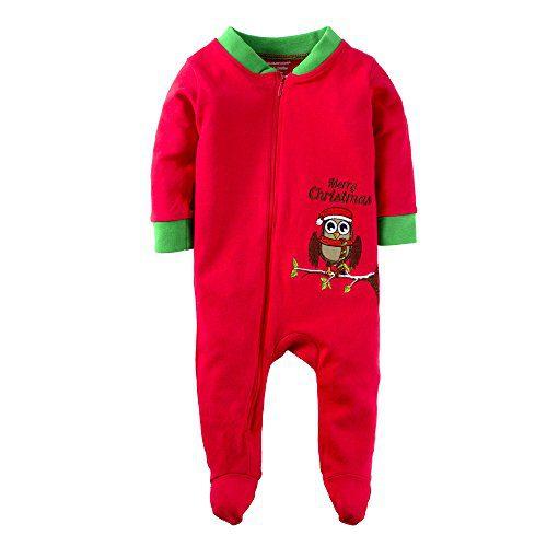 Big Elephant Baby Boys'1 Piece Cute Animal Zipper Long Sleeve Christmas Footie Romper Pajama