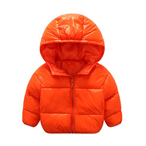 Baby Girls Boys Winter Lightweight Down Coat Hoodies Kids Candy Color Puffer Warm Coat Outwear Jacket (5-6 Years old, Orange)