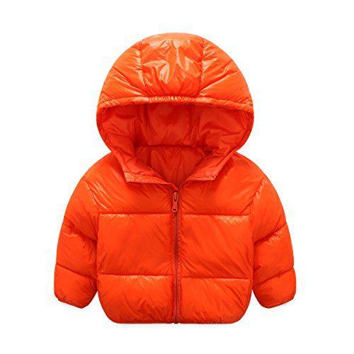Baby Girls Boys Winter Lightweight Down Coat Hoodies Kids Candy Color Puffer Warm Coat Outwear Jacket (5-6 Years old, Orange)