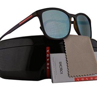 Prada Sunglasses Havana Rubber w/Grey Mirror Milky Blue 56mm Lens