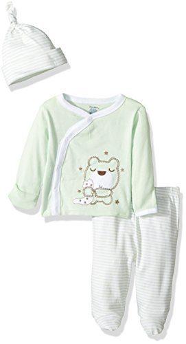 Gerber Baby 3 Piece Side Snap Mitten Cuff Shirt, Footed Pant & Cap, Bear, 0-3 Months