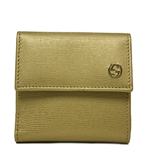 Gucci Gold Metallic Leather French Flap Wallet