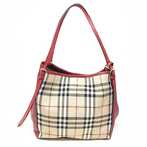 Burberry Women's Small Canter in Horseferry Check and Leather Beige Red Trim