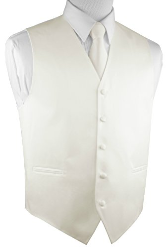 Brand Q Men's Formal Prom Wedding Tuxedo Vest, Tie & Pocket Square Set-Ivory-M