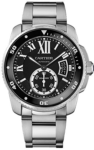 Cartier Calibre de Cartier Diver Black Dial Steel Mens Watch