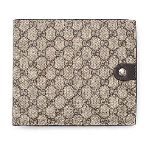 Gucci Cocoa Beige Canvas Leather Wallet Micro Guccissima