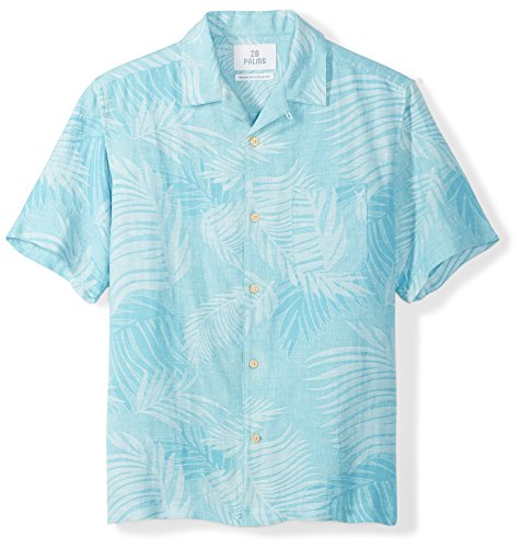 28 Palms Men's Relaxed-Fit Silk/Linen Tropical Leaves Jacquard Shirt, Blue Topaz, XX-Large
