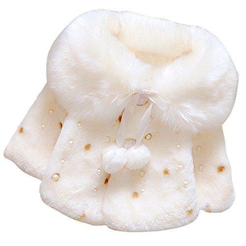 Jojobaby Baby Kid Girls Flower Faux Fur Outwear Coat Winter Shawl Quilted Jacket (0-12 Months)