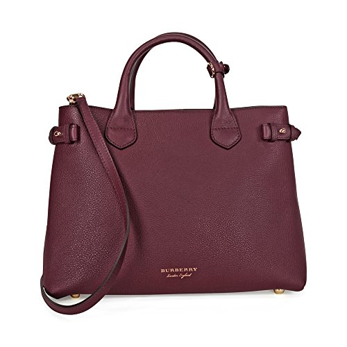 A Burberry The Medium Banner Leather House Check Handbag - Mahogany Red