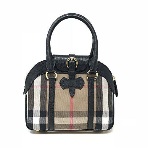 3c1cc3b1ead1 Burberry Small House Check Black Leather Ladies Satchel Purse Clout Wear