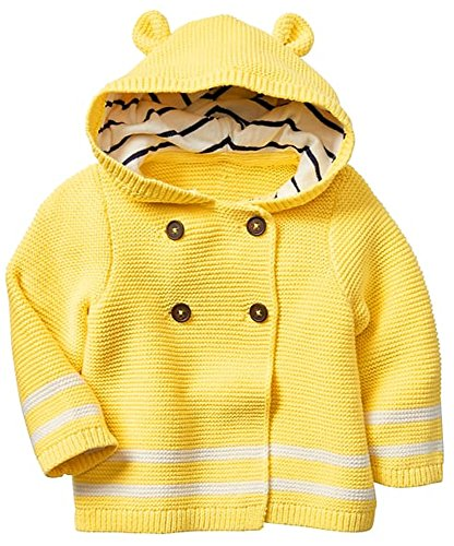 Baby Gap Factory Boys Girls Yellow Bear Hoodie Cardigan Sweater 6-12 Months